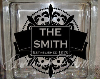 DIY Decal for Glass Blocks - Family Name Custom Personalized Vinyl Decal