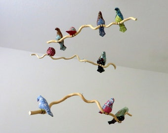 Bird Mobile-3 Tiered Bird Mobile- Multicolor Fabric Birds on natural tree branches - Made to order