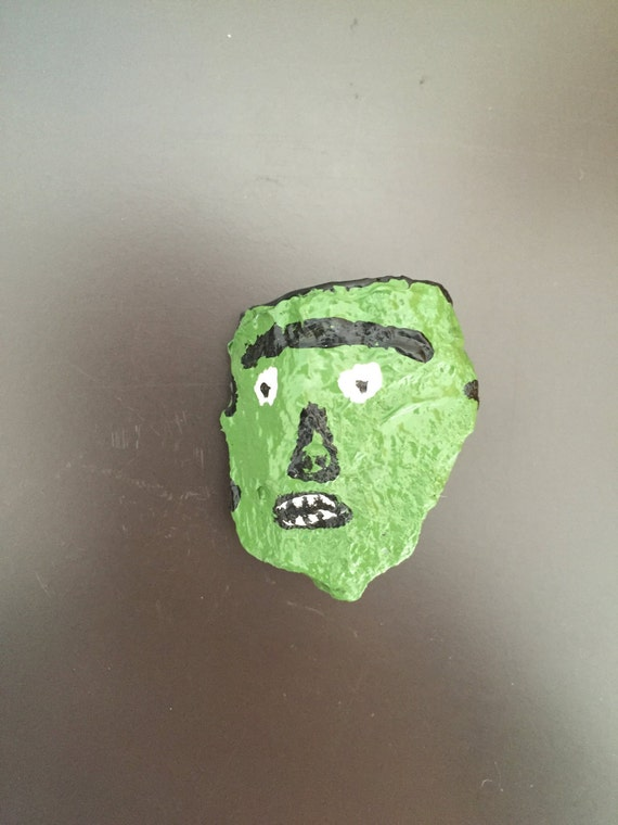 Frankenstein Face Painted Rock