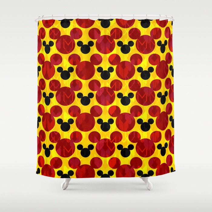 Mickey Mouse Red Yellow and Black Shower Curtain by foreverwars