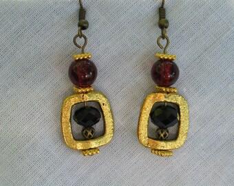 FSU Earrings, Florida State Jewelry, Delicate Earrings, Garnet & Gold Earrings, FSU, Chandelier Earrings, Seminole Earrings, FSU Jewelry