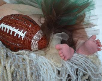 Newborn Green, Brown, Cream Tutu, Football Eagles Photography Prop