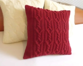 Red Custom Cable Knit Pillow Case, Throw Pillow, Burgundy Knit Pillow Cover, Hand Knit Pillow Case, Decorative Couch Pillow, 16X16 Pillow