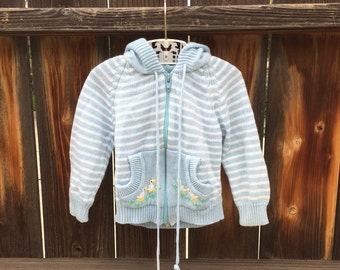 VTG Kiddz Knittz Baby Sweater Blue Stripes Sz 12-18M Embroidered Ducks