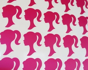 100 -Barbie Inspired Vinyl Sticker Decal Heads for Party Favor