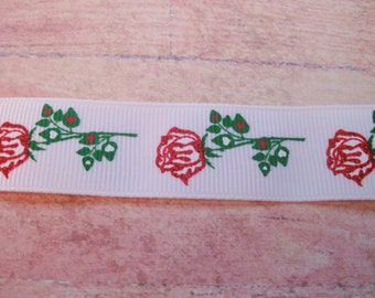 "Alice In Wonderland The Queen's Red Roses 7/8""in White Grosgrain Ribbon"