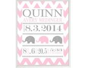 Birth Stat Wall Art, Elephant Nursery, Baby Girl Nursery, Pink Gray, Chevron Nursery, Personalized Birth Stats, Baby Girl Gift, Custom Print