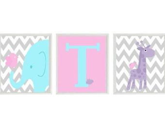 Baby Girl Nursery Art, Elephant Wall Art, Giraffe Print, Personalized Nursery Art, Initial Print, Bird Nursery, Girl Room Decor, Baby Gift