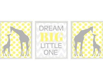 Giraffe Nursery Wall Art, Neutral Nursery Prints, Dream Big Little One Quote, Gray and Yellow Nursery, Polka Dot, Chevron, Baby Gift