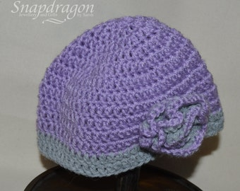 Pretty lilac and grey crochet beanie hat with flower embellishment. 3 - 6 months