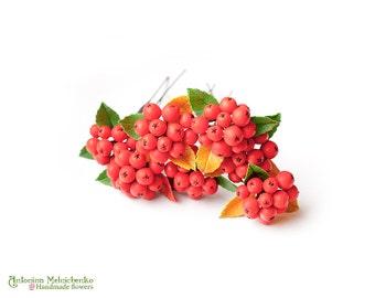 Hair pins Rowan Berries - Polymer Clay Flowers