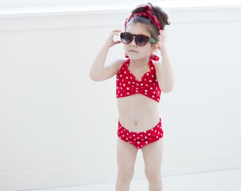 Red Dolly Red and white polka dot Girls retro swimsuit bikini two piece childrens sizes 2-12