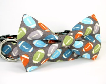 Football  Dog Collar with bow tie set(Mini,X-Small,Small,Medium ,Large or X-Large Size)- Adjustable