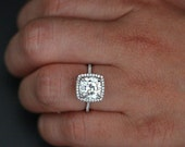 Flawless Moissanite Engagement Ring in 14k White Gold with Forever Classic Moissanite Cushion 9mm and Diamonds