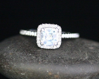 Snow White Topaz Engagement Ring in 14k White Gold with White Topaz Cushion 6mm and Diamond Halo (Also Available in Rose Gold)
