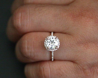 Rose Gold Forever Classic Moissanite Engagement Ring in 14k Gold with Moissanite Round 8mm and Diamond Halo Ring