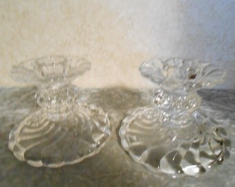 1950's Pair of Glass Candle Holders