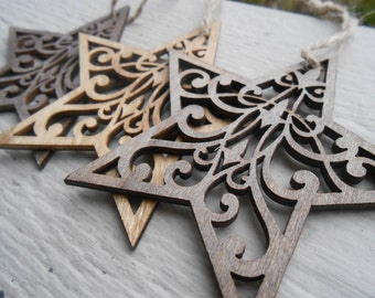 Set of 3 Star Ornaments, Laser Cut. Christmas, Holiday Decoration. Rustic. 3 Inch. Unique Gift