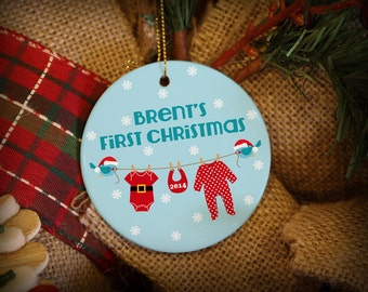 Baby's First Christmas! Santa's Clothesline. Customizable Ornament.