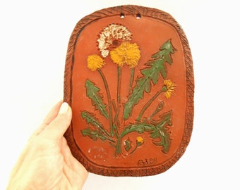 Vintage Swedish Ceramic wall plaque with dandelions Ceramic floral wall hanging Brown yellow green plaque
