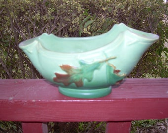 Vintage Weller Art Pottery Green Oak leaf  design console bowl
