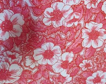 Vintage Hawaiian Maxi Dress Pink White Hibiscus Barkcloth Short Sleeve 40s 50s B41