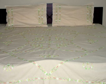 Brand New KingSize: Floral light brown fully hand embroidered cotton flat bed sheet with 2 pillow covers (white green, magenta embroidery) .
