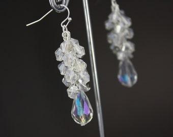 Crystal Earrings, Cluster Earrings, Bridesmaid Gift, Crystal Cluster Earrings, Bridesmaid Earrings, Chunky Earrings, Wedding Earrings