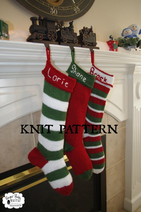 KNIT PATTERN -Serious Knitters ONLY,  Knit Personalized Christmas Stocking, Pattern, Christmas, Holiday, Hanging Stocking, Hand Knit,