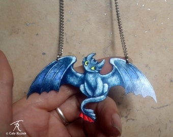 Toothless Dragon Night Fury Black HTTYD how to train your dragon movie fantasy mythical Metal Necklace