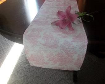 jamestown pink toile table runner