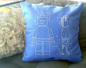 Lego Minifig Blueprint Linen Pillow Case