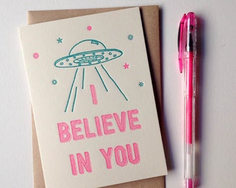 I Believe In You letterpress greeting card