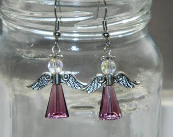 Artisan Handcrafted Swarovski Crystal Beaded Guardian Angel Earrings Amethyst Purple