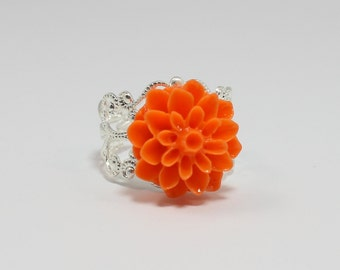 Orange Chrysanthemum Flower Ring, Orange Flower Ring, Silver Filigree Adjustable Flower Ring, Mum Flower, Vintage Inspired, Christmas Gift
