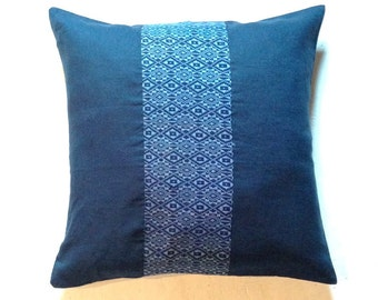 "Cambodian Traditional Fabric PILLOW Cover- 20""x20"" inch - blue linen, Indie pillow cover, Bohemian pillow, Boho pillow case, Tribal pillow"