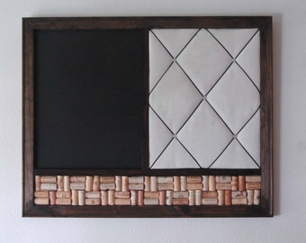 large framed chalkboard french memo board wine cork board kitchen wall organizer 24x30