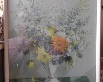 """Fab Vernon Ward original framed glazed floral print """"Autumn Portrait' in great condition - beautiful autumn floral colours in gold and blue"""
