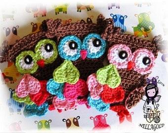 Crochet PATTERN, Applique Magic Owl, Applique Owl, DIY Pattern 6, Instant Download
