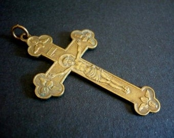 "Antique French Cross Pendant ""Souvenir de Mission"""