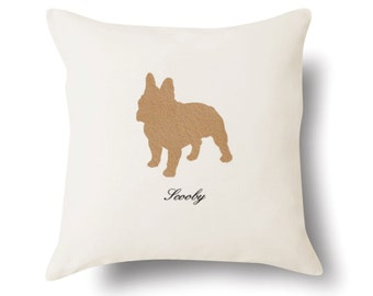 Personalized French Bulldog Pillow - Off White 100% Cotton - 18x18 -  Name or Text Embroidered - Pet Silhouette - 4 Color Choices