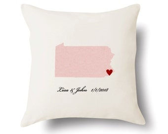 Personalized Pennsylvania Pillow - Text Embroidered - Off White 100% Cotton - 18x18 - Pennsylvania Map Pillow - 4 Color Choices