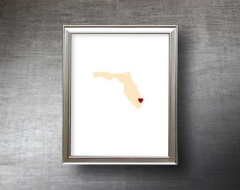 Florida Art 8x10 - 4 Color Choices - UNFRAMED Hand Cut Silhouette - Florida Print - Name or Text Optional