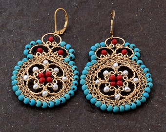FREE SHIPPING Turquoise, Pearls,Corals 14K Gold Filled Earrings, Boho Chic, Large Statement Earrings , Dangle Earrings, Semi Precious Stone