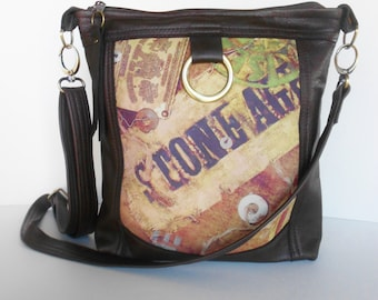 Leather crossbody bag or leather shoulder bag in brown and  rustic print leather. Brown leather crossbody, sling bag.