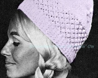 Knitting Pattern - Pom Pom Twist Hat Pattern - Toque Pattern - Digital Pattern - PDF Instant Download - Vintage winter cap Pattern
