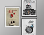 1Q84, Wind Up Bird Chronicles and Colorless Tsukuru Tazaki - three art A3 posters inspired by Haruki Murakami books