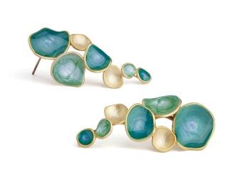 turquoise posts blue gold earrings for women gold turquoise gold post earrings enamel jewelry bright jewelry cascade earrings