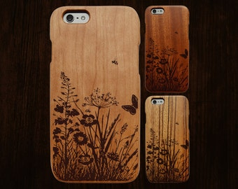 Wood iPhone 6 case. Works with 6/6S/6Plus/6SPlus. Springtime engraving. Single-piece body.