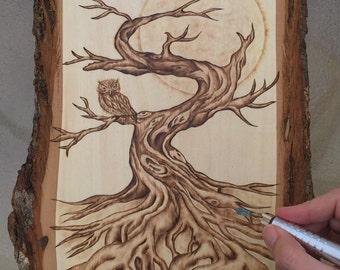 Autumn Tree and Owl Woodburning Art